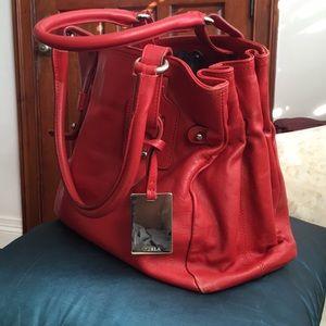 Vintage!! Furla italian Leather shoulder red purse